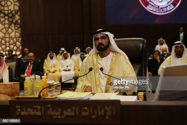 United Arab Emirates prime minister and vice president Sheikh Mohammed Bin Rashed Al Maktoum attends during the Arab League summit in the Jordanian...