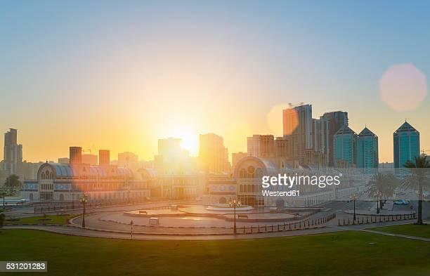 United Arab Emirates, Sharjah, Blue Souk at sunrise