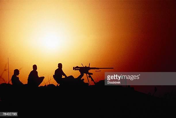 United Arab Emirates soldiers by heavy machine gun