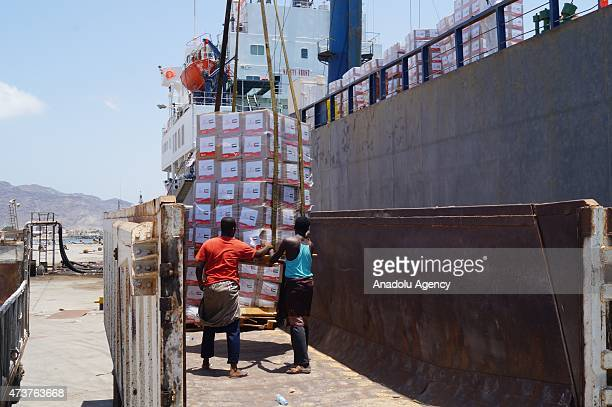 United Arab Emirates's Red crescent aid ship carrying 1200 tons humanitarian supplies for warhit people of Yemen arrive in Port of Aden on May 17 2015