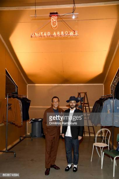 United Arrows Designers Yasuto Kamoshita and Poggy attend GQ x GAP Coolest Designers on the Planet 2017 at St Ann's Warehouse on September 25 2017 in...