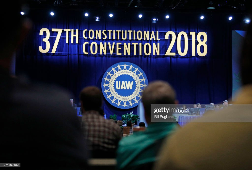 United Auto Workers delegates wait to hear Gary Jones, the newly-elected President of the United Auto Workers (UAW), address the 37th UAW Constitutional Convention June14, 2018 at Cobo Center in Detroit, Michigan. Jones was formerly the Director of UAW Region 5. The outgoing President is Dennis Williams, who served one term and was elected in 2014.