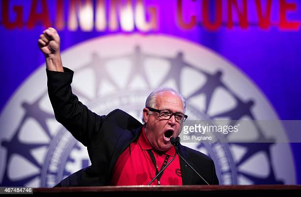 United Auto Workers President Dennis Williams speaks to delegates at the UAW Special Convention on Collective Bargaining at Cobo Center March 25,...