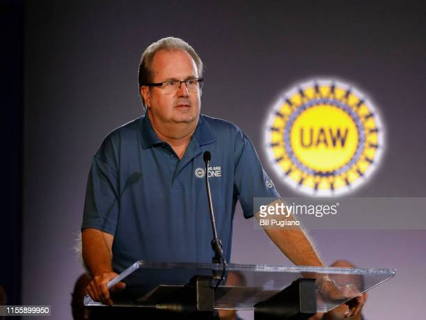 United Auto Workers President Gary Jones speaks at the opening of open the 2019 GMUAW contract talks where the traditional ceremonial handshake takes...