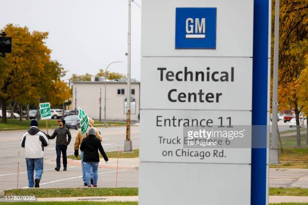 United Auto Workers union members picket at the General Motors Tech Center for the sixth week of their national strike against General Motors on...