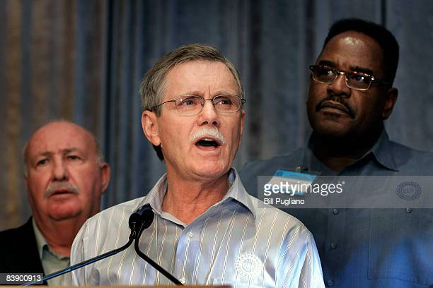 United Auto Workers union President Ron Gettelfinger speaks at a press conference after holding an emergency meeting with union officials from around...