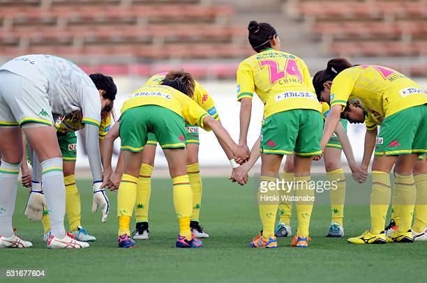 JEF United Chiba players form a huddle during the Nadeshiko League match between Urawa Red Diamonds Ladies and JEF United Chiba Ladies at the Urawa...