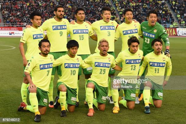 United Chiba players line up for the team photo prior to the JLeague J1 Promotion PlayOff semi final match between Nagoya Grampus and JEF United...