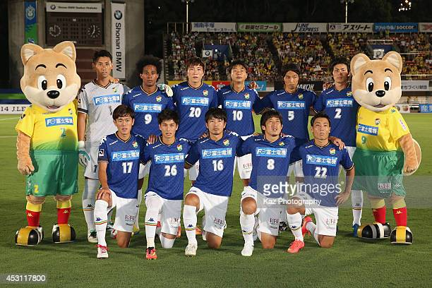 JEF United Chiba players line up for the team photos prior to the J League second division match between Shonan Bellmare and JEF United Chiba at BMW...