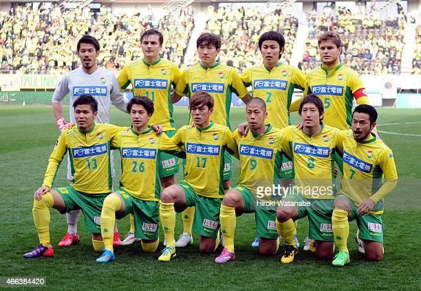 JEF United Chiba players line up for the team photos prior to the JLeague second division match between JEF United Chiba and Mito Hollyhock at Fukuda...