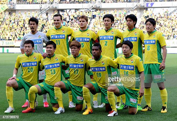 JEF United Chiba players line up for the team photos prior to the JLeague second division match between JEF United Chiba and Zweigen Kanazawa at...