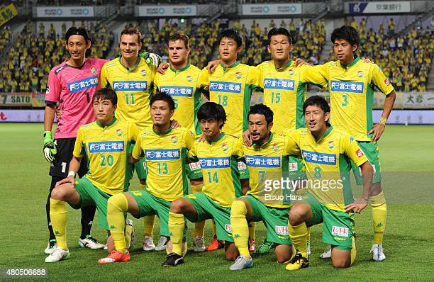 JEF United Chiba players line up for the team photos prior to the JLeague second division match between JEF United Chiba and Thespa Kusatsu Gunma at...