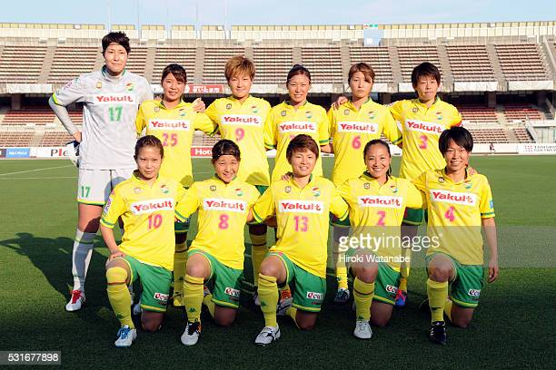 JEF United Chiba players line up for the team photos prior to the Nadeshiko League match between Urawa Red Diamonds Ladies and JEF United Chiba...