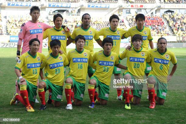 United Chiba players pose for a photograph prior to the J League second division match between JEF United Chiba and Tochigi SC at Fukuda Denshi Arena...