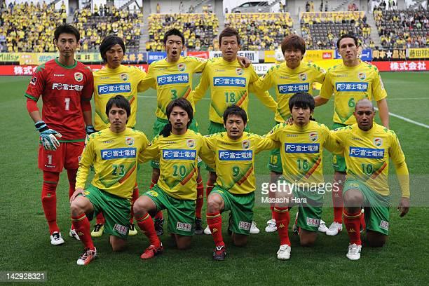 JEF United Chiba players pose for photograph prior to the JLeague Second Division match between JEF United Chiba and Fagiano Okayama at Fukuda Denshi...