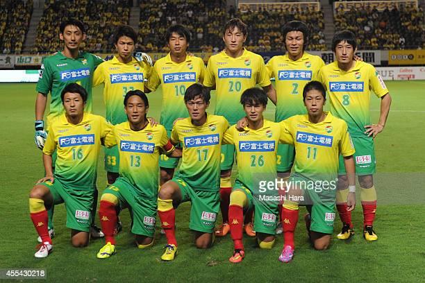 JEF United Chiba players pose for photograph prior to the JLeague second division match between JEF United Chiba and Giravanz Kitakyushu at Fukuda...