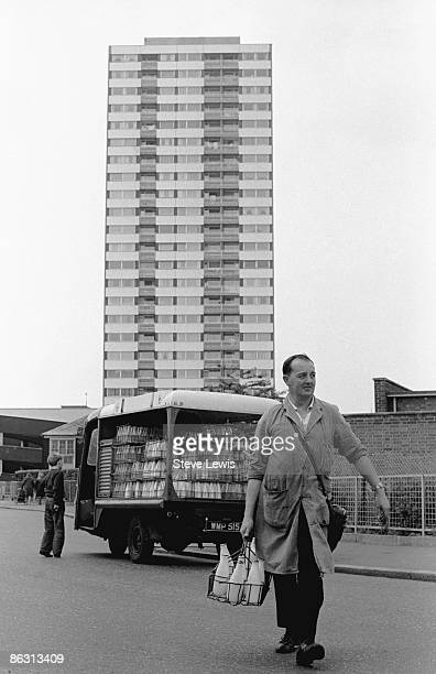 A United Dairies milkman on his rounds in the East End of London 1960s