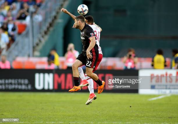 C United defender Chris Korb and New York Red Bulls midfielder Gonzalo Veron fight for possession during a match between DC United and the New York...