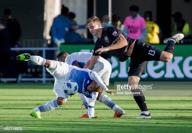 C United defender Frederic Brillant clashes with FC Dallas midfielder Santiago Mosquera and FC Dallas midfielder Michael Barrios during a MLS match...