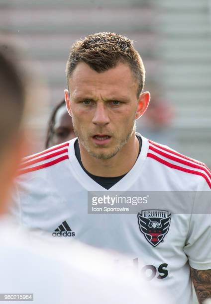 C United defender Frederic Brillant warms up before a USOC round of sixteen match between DC United and Orlando City SC on June 20 at Maryland...