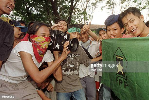 United Development Party Supporters Play Act A Television Interview During An Election Gathering At A Jakarta Mosque Wednesday May 21 1997 Jakarta's...