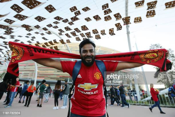 United fan shows his support during the match between the Perth Glory and Manchester United at Optus Stadium on July 13 2019 in Perth Australia