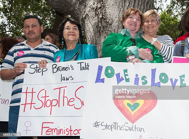 United Farm Workers cofounder Dolores Huerta attends the Coalition Of Women's Rights LGBT And Human Rights Groups Rally to protest Brunei's KillAGay...