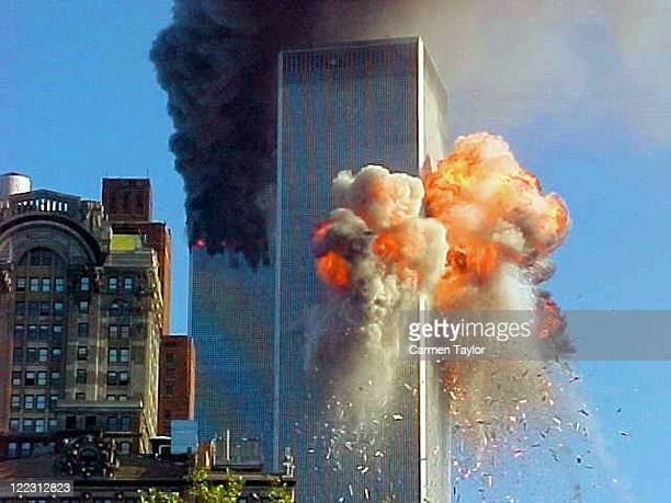 United flight 175 flies directly into World Trade Center tower 2 during a terrorist attack.