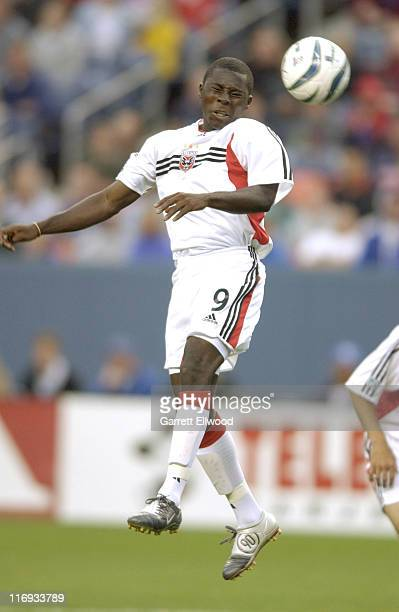 United Forward Freddy Adu goes up for a header during D.C. United versus the Colorado Rapids on May 22, 2004 at Invesco Field at Mile High in Denver,...