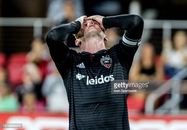 C United forward Wayne Rooney after missing an easy chance during a MLS match between DC United and the New England Revolution on August 19 at Audi...
