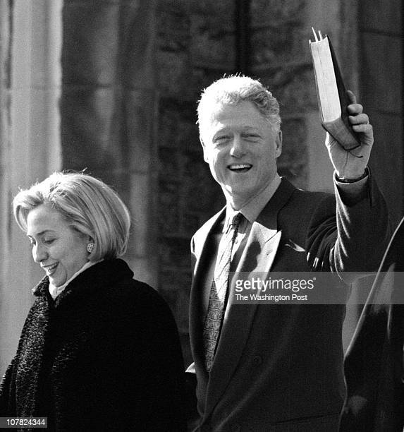 01/25/98 United Foundry Methodist Church 16th and P Sts DC Description Pres and first lady attend church service Pres Bill Clinton holds his Bible...