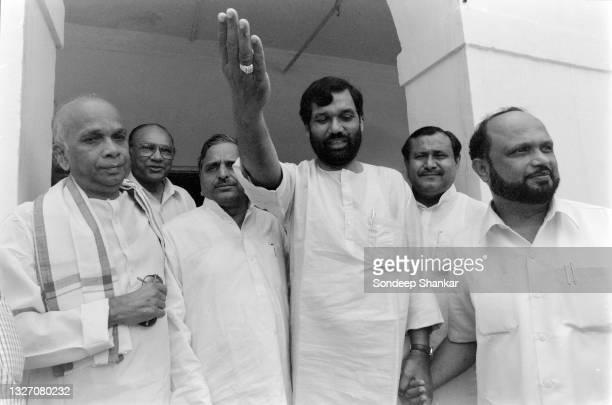 United Front leaders Ramvilas Paswan ; Mulayam Singh Yadav Prafulla Mahanta coming out of a steering committee meeting of the ruling United Front...