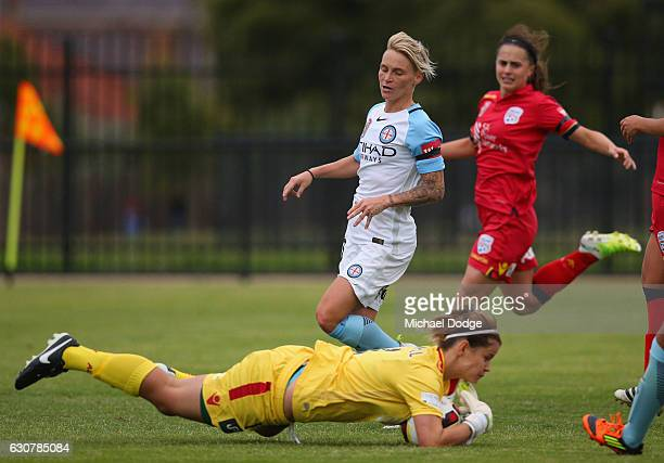 United goal keeper Eliza Campbell stops a goal attempt by Jessica Fishlock of the City during the round 10 WLeague match between Melbourne City and...