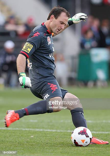 United goal keeper Eugene Galekovic kicks the ball during the round one ALeague match between Perth Glory and Adelaide United at Coopers Stadium on...