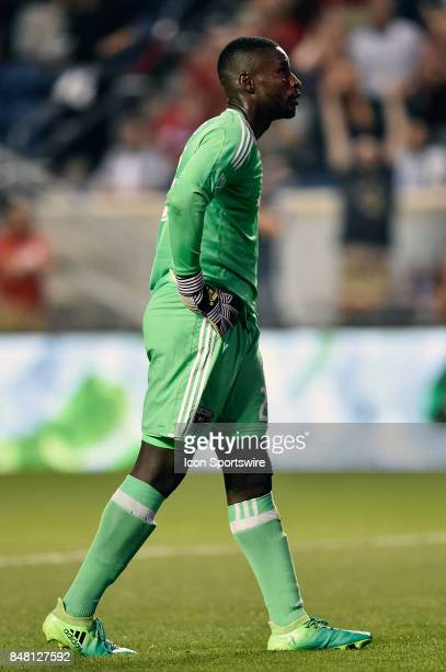 C United goalkeeper Bill Hamid looks up at the scoreboard after DC United midfielder Ian Harkes scores own goal during the match between Dagainst the...