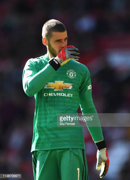 United goalkeeper David De Gea reacts after the 2nd Cardiff goal during the Premier League match between Manchester United and Cardiff City at Old...