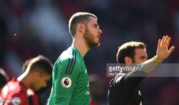 United goalkeeper David De Gea reacts after the Premier League match between Manchester United and Cardiff City at Old Trafford on May 12, 2019 in...