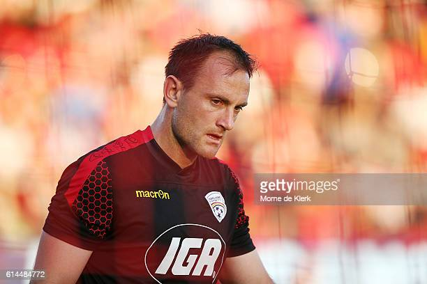 United goalkeeper Eugene Galekovic looks on during his warmup before the round two ALeague match between Adelaide United and the Western Sydney...
