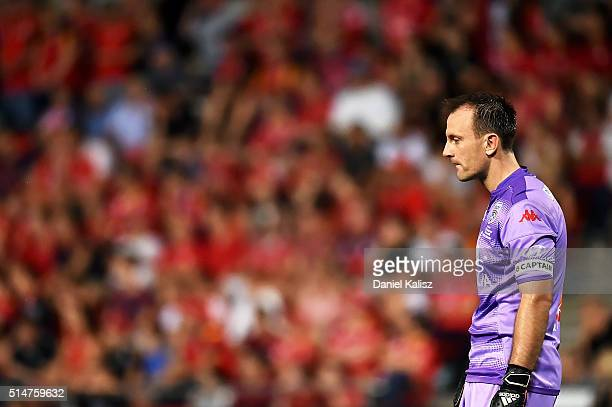 United goalkeeper Eugene Galekovic looks on during the round 23 ALeague match between Adelaide United and Melbourne City FC at Coopers Stadium on...