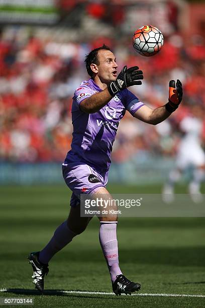 United goalkeeper Eugene Galekovic makes a save during the round 17 ALeague match between Adelaide United and the Newcastle Jets at Coopers Stadium...
