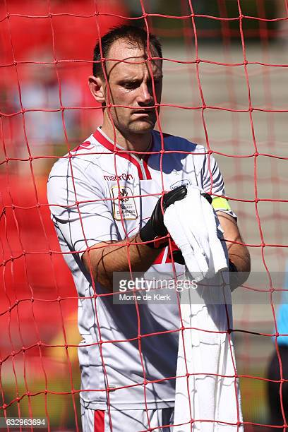 United goalkeeper Eugene Galekovic prepare for the round 17 ALeague match between Adelaide United and the Wellington Phoenix at Coopers Stadium on...