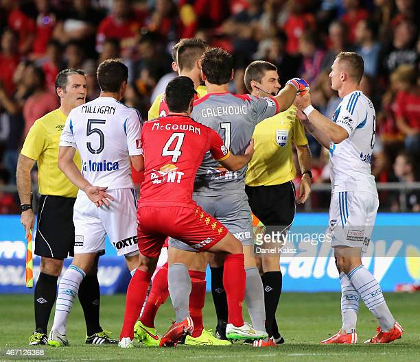 United goalkeeper Eugene Galekovic reacts to Besart Berisha of the Victory during the round 22 ALeague match between Adelaide United and Melbourne...