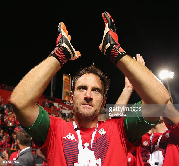 United goalkeeper Eugene Galekovic reacts to the crowd after the FFA Cup Final match between Adelaide United and Perth Glory at Coopers Stadium on...