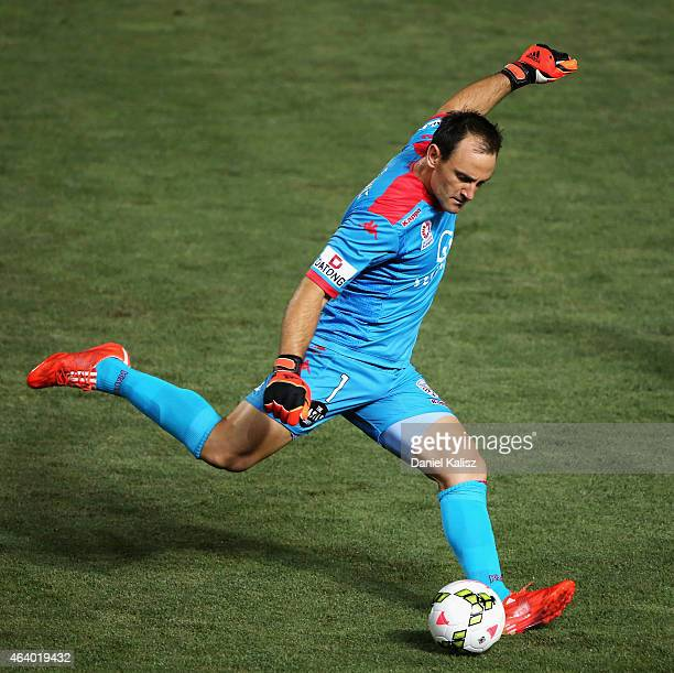 United goalkeeper Eugene Galekovic takes a goal kick during the round 18 ALeague match between Adelaide United and Western Sydney Wanderers at...