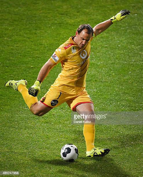 United goalkeeper Eugene Galekovic takes a goalkick during the FFA Cup Round of 16 match between Adelaide United and Sydney FC at Coopers Stadium on...