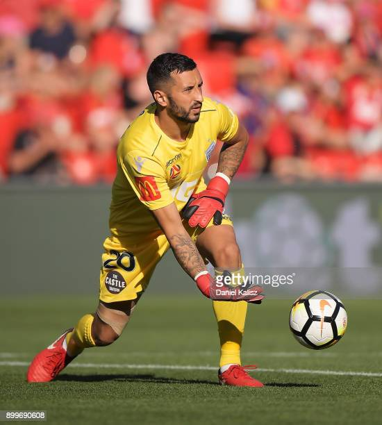 United goalkeeper Paul Izzo throws the ball during the round 13 ALeague match between Adelaide United and Brisbane Roar at Coopers Stadium on...