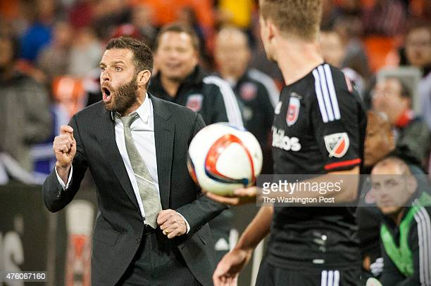 C United head coach Ben Olsen yells instruction from the sideline in the second half at RFK Stadium May 2015 in Washington DC DC United beat Orlando...