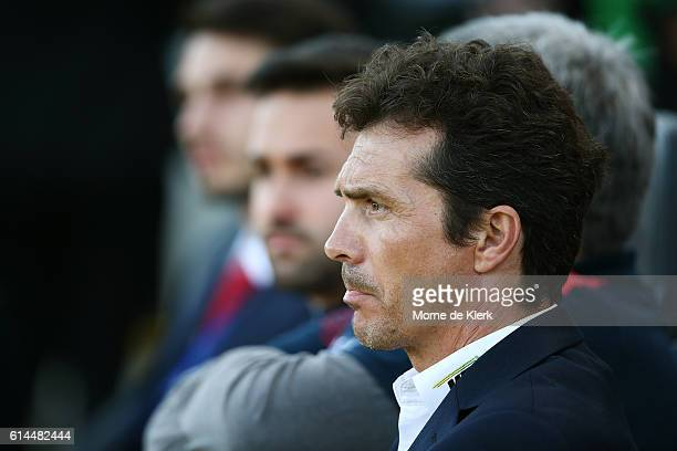 United head coach Guillermo Amor looks on during the round two ALeague match between Adelaide United and the Western Sydney Wanderers at Coopers...