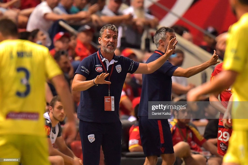 United head coach Marco Kurz reacts during the round 12 A-League match between Adelaide United and the Central Coast Mariners at Coopers Stadium on December 26, 2017 in Adelaide, Australia.