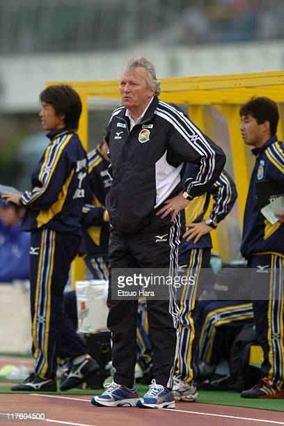 United Ichihara head coach Ivica Osim looks on during the J.League Division 1 first stage match between JEF United Ichihara and Nagoya Grampus Eight...
